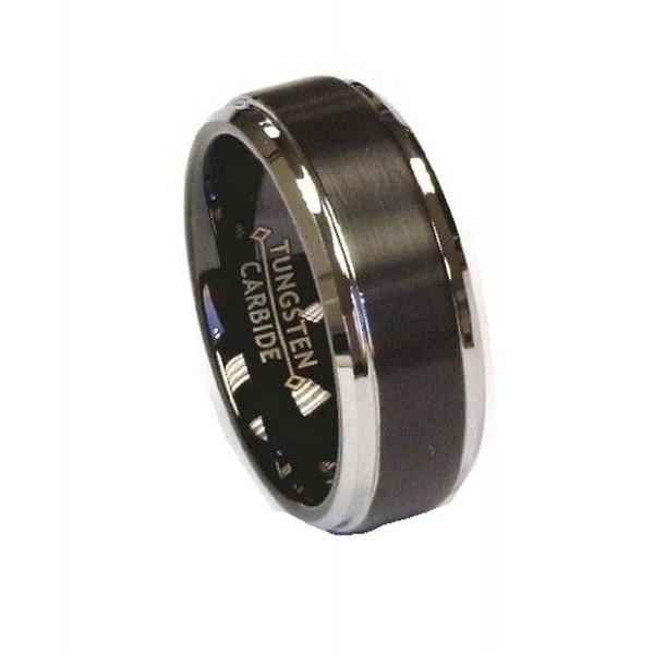8Mm Black Brush Center Polish Stepped Edge Tungsten Carbide Wedding Band Ring - CT11NW96K1V
