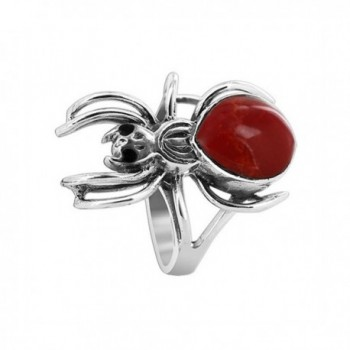 Gem Avenue 925 Sterling Silver Widow Spider with Red Coral Gemstone Ring - C911BFQUBJ5