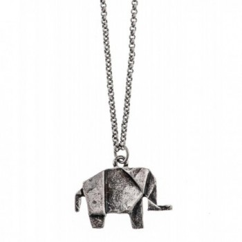Shagwear Woman's Necklace Long Retro Vintage Antique Silver Plated Tiny Origami Elephant Pendant - C311LBIK7CD