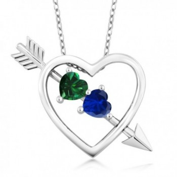 0.96 Ct Green Simulated Emerald Blue Simulated Sapphire Silver Heart & Arrow Pendant - CE128NXUXX1