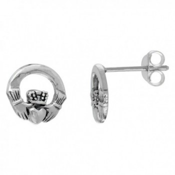 Sterling Silver Small Celtic Claddagh Stud Earrings- 3/8 inch wide - CU11BH68MCB