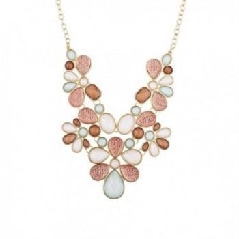 Lux Accessories Gold Tone Peach Ivory Faceted Caviar Glitter Statement Necklace - CZ183WUZ42A