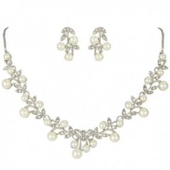 EVER FAITH Women's Simulated Pearl Vine Leaf Bowknot Necklace Earrings Set - CO11LB8WLUT