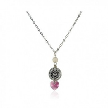 New Design Swarovski Elements Crystal Heart Pendant With White Stone- 16 Inches Nickel Free Jewelry - Pink - CA12ILNXDVR