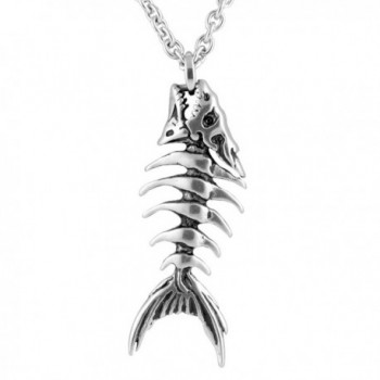 "Controse Silver-Toned Stainless Steel Fish Bones Necklace 17"" - 19"" Adjustable Chain - C012GK5DJSF"