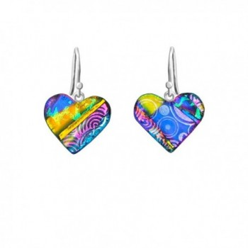 DreamGlass Sterling Silver and Dichroic Glass Multi-Color Patch Heart Earrings - CL11IWMCL7Z