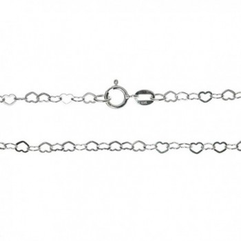 18 Inches .925 Sterling Silver Flat Love Heart Link Chain Necklace With Spring Ring Clasp - C511J0V1UGP
