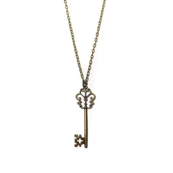 "Brass Filigree Skeleton Key Pendant Necklace with 18"" Chain - CM12L1BLLBP"