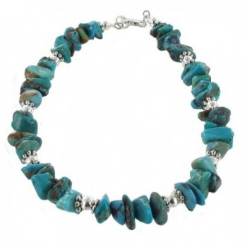 Womens Turquoise & Sterling Silver Ladies Beaded Gemstone Anklet with Daisies - C911CPAMUGB