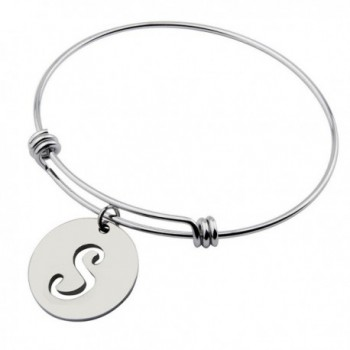Ensianth Initial Bracelet Stainless Steel Letters Bangle Adjustable Bracelet - S - CP184RTYSNH