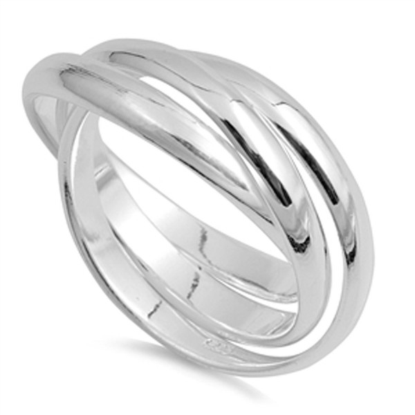 Triple 3mm Rolling Wedding Ring New .925 Sterling Silver Stacked Band Sizes 4-13 - C4187YY824X