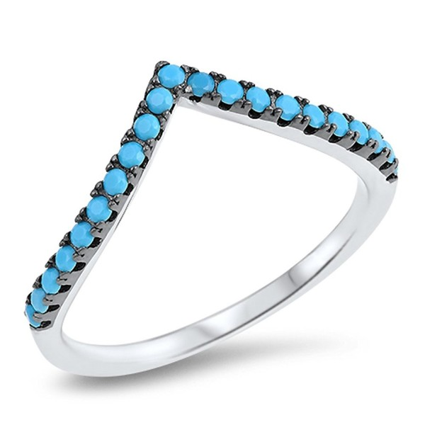 Chevron Pointed Simulated Turquoise Thumb Ring Sterling Silver Stackable Band Sizes 4-10 - CA12MX98GWK