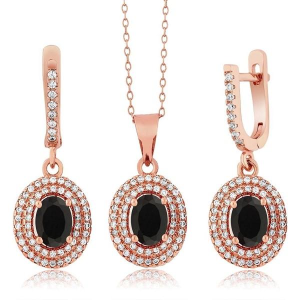 3.67 Ct Black Onyx 925 Rose Gold Plated Silver Pendant Earrings Set - CH11O5BB7QD