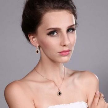 Black Plated Silver Pendant Earrings