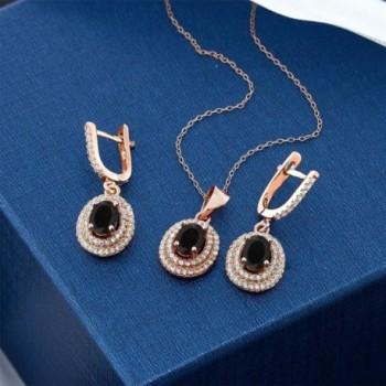 Black Plated Silver Pendant Earrings in Women's Jewelry Sets