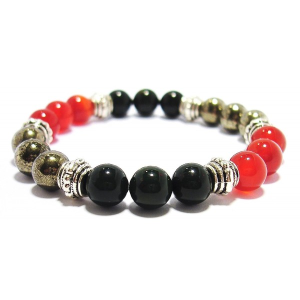 PHYSICAL ENERGY BOOST 8mm Crystal Gemstone Intention Bracelet - Bloodstone- Carnelian- & Pyrite - CS12N1S6HQ9