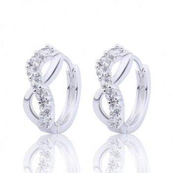 GULICX Jewellery Lucky Figure 8 Hoop Pierced Huggie Earrings with Clear CZ Silver Tone for Bridesmaid - CR122LOTIJX