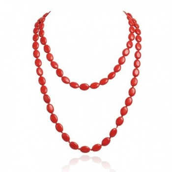 Jane Stone Funky Oval Shape Necklace Turquoise Double Strand - Red - CG11M0S3TFP