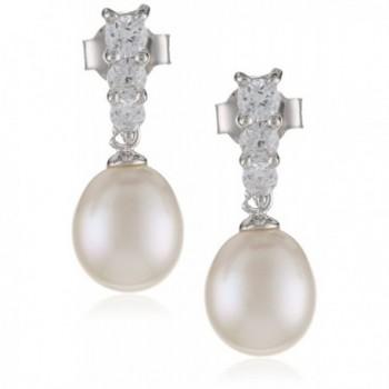 Bella Pearl Triple Cubic Zirconia Pearl Earrings - C111CH027AD