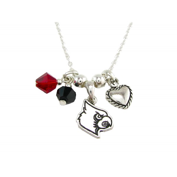Louisville Cardinals Red Black Austrian Crystal Heart Silver Chain Necklace UL - CT11QZRH8JZ