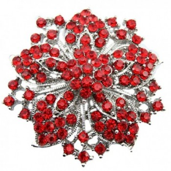 Bai You Mei Womens Brooch Pin With Fashion Jewelry Fancy Vintage Rhinestone Bling Crystal Bauhinia Flower - Red - CF183SE7QYE