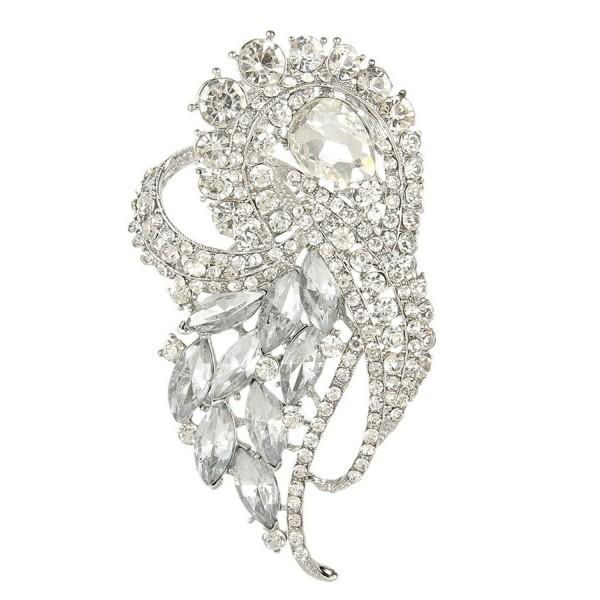 EVER FAITH Austrian Crystal Wedding Elegant Flower Teardrop Bouquet Brooch - Clear Silver-Tone - CC11C7ZA0PR