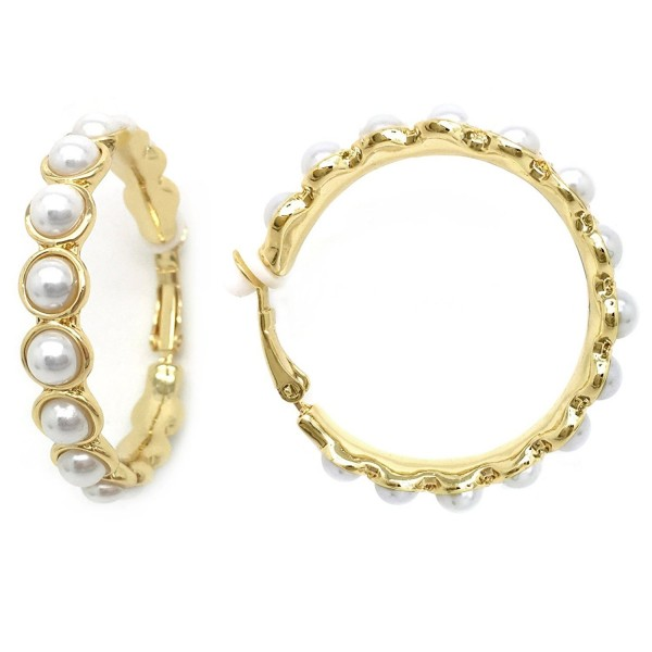 Sparkly Bride Clip On Hoop Earrings Simulated Pearl Gold Plated Women Fashion 1.5 inches - CY128IMVQ51