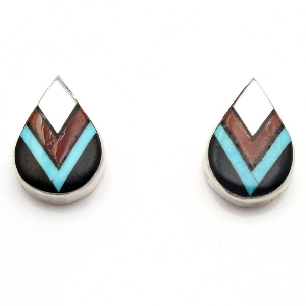 Zuni Multi Color Inlay Stud Earrings by Cheama - CM1878X5OGH