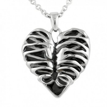 """Controse Silver-Toned Stainless Steel Rib Cage Heart Necklace 17"""" - 19"""" Adjustable Chain - CU12GK5DUYD"""