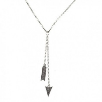 Lux Accessories Boho Burnished Silvertone Arrow and Spike Lariat Sexy-Y Necklace - CA12MS3BC1T
