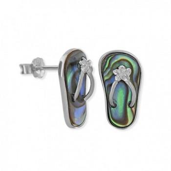 Sterling Silver Abalone Shell Slipper Flip Flop Earrings - CL117WLT0VR