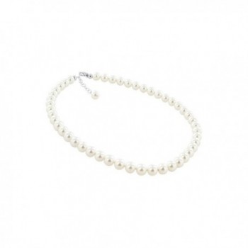 Gem Avenue Sterling Silver 8mm Simulated White Pearl Necklace Made with Swarovski Elements - CA110M4GJG5