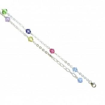 Multi-color Crystals with .925 Sterling Silver Anklet- Bracelet. 7-8-9-10-11-12-13 Inches - C3121JOSLT9