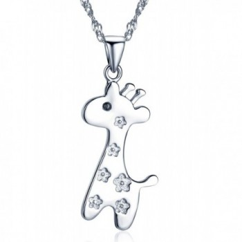 Infinite U Women's Giraffe Pendant Necklace in 925 Sterling Silver with 45cm Chain-Rose Gold/Silver - Silver - C112FGLI02T