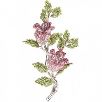 Gyn&Joy Pink Rose Bud With Green Leaf Austrian Crystal Rhinestone Brooch Pin BZ003 - CH17Z2UL0XE