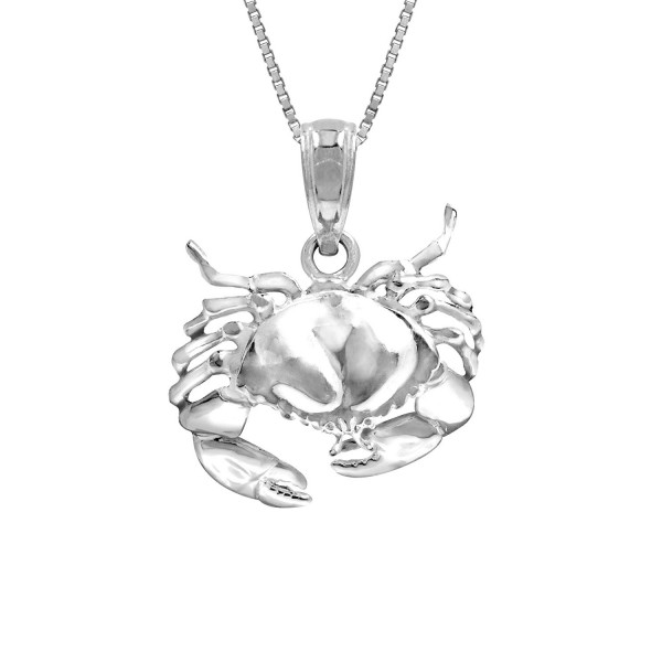 "Sterling Silver 2-d Stone Crab Necklace Pendant with 18"" Box Chain - CM119BA0EUR"