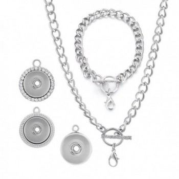 Vocheng Snap Ginger Snap Jewelry Set 18mm Metal Button Pendant Necklace and Bracelet Set Nn-317 - CX129Y8PI2F