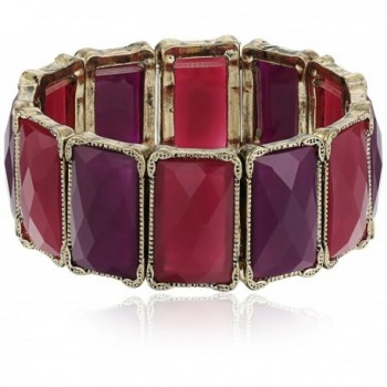 1928 Jewelry Gold-Tone Purple Faceted Rectangle Stretch Bracelet - C811GHHJ7ID