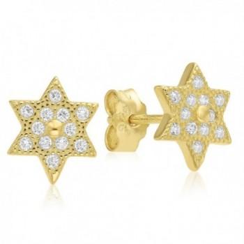 925 Sterling Silver Pave Cubic Zirconia Star of David Jewish Kabbalah Post Earrings - CK120OQXGCF