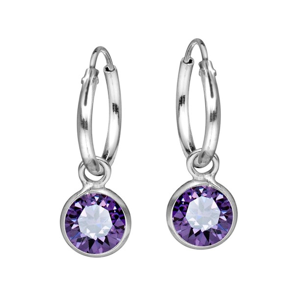 Elegant Purple Cubic Zirconia Dangle .925 Sterling Silver Hoop Earrings - C7124J7L41Z