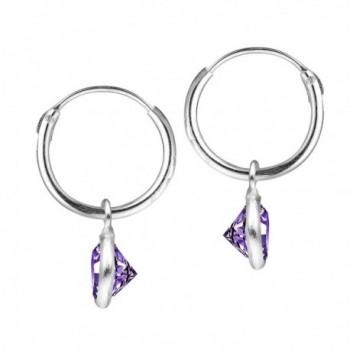 Elegant Purple Zirconia Sterling Earrings