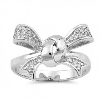 Ribbon Bow Tie Knot White CZ Cute Ring New .925 Sterling Silver Band Sizes 6-9 - CR12JBXHVO1