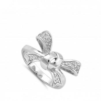 Ribbon Knot White Sterling Silver