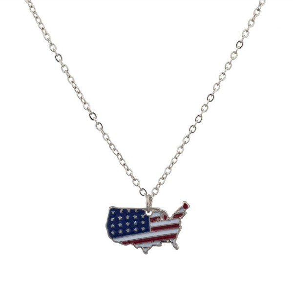 Lux Accessories USA American Flag Red White & Blue Americana Country Outline North America Pendant Necklace. - C9125BQWXIB