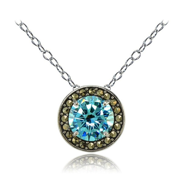 Sterling Silver Gemstone and Marcasite Halo Birthstone Necklaces - Simulated Aquamarine - CX17Z379OSG