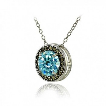 Sterling Simulated Aquamarine Marcasite Necklace