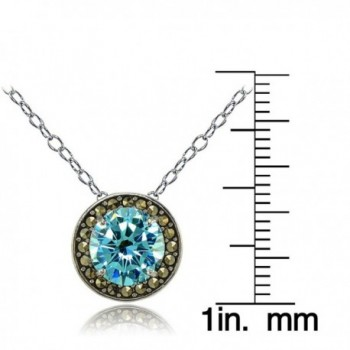 Sterling Simulated Aquamarine Marcasite Necklace in Women's Pendants