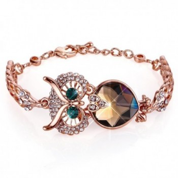 Menton Ezil Vintage Owl Charm Adjustable Bracelet Rose Gold Crystal Bracelets with Lobster Clasp Jewelry - C61806GHU2O
