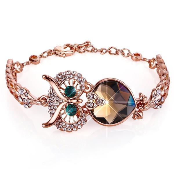 Menton Ezil Vintage Owl Charm Adjustable Bracelet Rose Gold Crystal Bracelets with Lobster Clasp Jewelry - C61806GHU2O