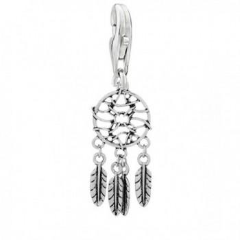 Feather Dream Catcher Clip on Pendant Charm for Bracelet or Necklace - CQ122BBVW7H